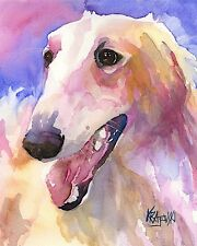 Borzoi Dog Art Print Signed by Artist Ron Krajewski 8x10