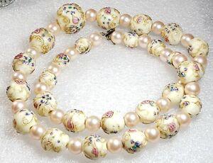 Vintage Murano Venetian Art Glass Wedding Cake White Gold Pink Bead Necklace