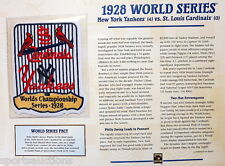 1928 World Series Patch Card Willabee Ward New York Yankees / St Louis Cardinals