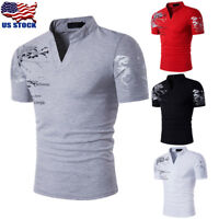 Stylish Men's Tee Shirt Slim Fit V-Neck Short Sleeve Muscle Casual Tops T Shirts