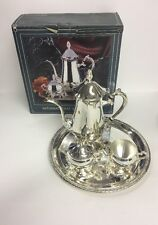 4 Pc Tea Coffee Set Silverplate International Silver Co W/ Tray & Box Sugar Bowl