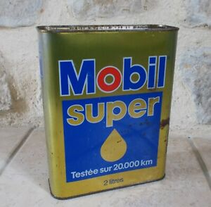 Vintage oil can tin MOBIL Super France french petroleum auto old 2 L #3