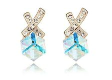 18K Gold GP Made with SWAROVSKI Element Crystal Fairy Blue Cross Earrings