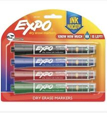 Expo Ink Indicator Dry Erase Markers, 4 Count Black, Blue, Red, Green Chisel Tip