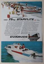 Evinrude 75hp Starflite II Outboard Motor   1959   Magazine Print Ads 10 x 7
