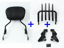 4 Point Docking Stealth Luggage Rack Sissy Bar Backrest for touring 2014-later