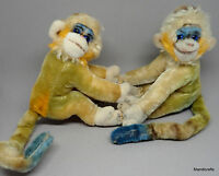 Steiff Mungo Monkey x 2 Mohair Plush 17cm 7in Blue Glass Eyes 1960s no ID Vtg