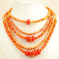 Beautiful! Multi-strand Orange Coral Beads Necklace w/Gold Clasp 19-23""