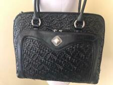 NEW COLDWATER CREEK Black Faux Woven Leather Laptop Bag Large Tote Croc Embossed