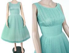 MINT! Vintage 1950s 50s L'Aiglon Pleated Sundress Blue Full Skirt Day Dress XS