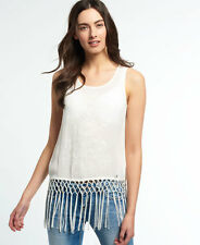 New Womens Superdry Vintage Fringed Tank Top Off White