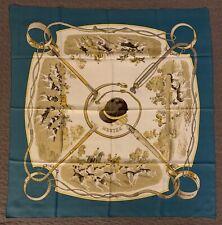 Authentic Foulard MEUTES HERMES Paris 100% seta Mint Condition