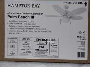 Hampton Bay Palm Beach III 48 in. LED Indoor/Outdoor Matte White Ceiling Fan