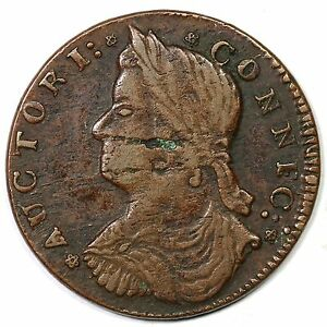1787 33.37-Z.9 R-5 Draped Bust Left Connecticut Colonial Copper Coin
