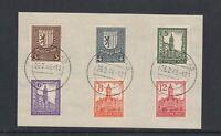 SBZ Michel-Nr. 150-155Y gestempelt auf Briefstück