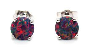 Sterling Silver Black Fire Opal 2.28ct Stud Earrings