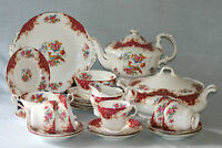 PARAGON ' ROCKINGHAM RED '  TEA SET AND TABLEWARE - ENGLISH BONE CHINA