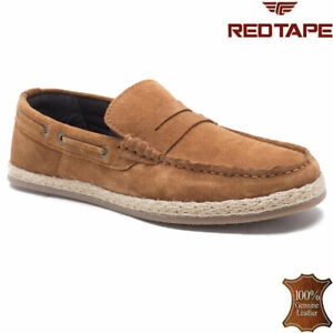 Mens Leather Slip On Lace Up Loafers Casual Moccasin Boat Deck Driving Shoes