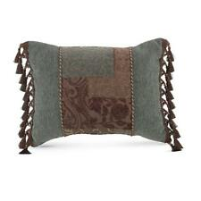 "CROSCILL Boudoir Pillow, GALLERIA BROWN, Embellished, 20"" x 15"" Brown, Aqua NEW"