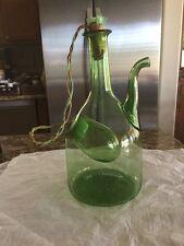 Vintage italienische Handblown grün Glas Porron Wein Krug Kanne mit Eis Kammer