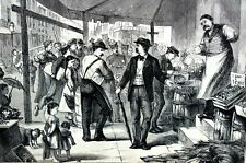 Board of Health Inspection 1873 NEW YORK FRUIT MARKET Matted Engraving Print