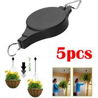 1~5Pcs Retractable Pulley Hanging Basket Pull Down Hanger Garden Plant Pots Hook