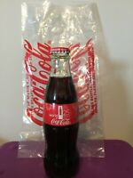 2015 WORLD OF COKE ATLANTA 25TH ANNIVERSARY 8 OZ GLASS COCA COLA BOTTLE & BAG