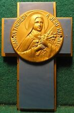 """Old WALL PLAQUE CROSS 4"""" - ST THERESE OF LISIEUX"""