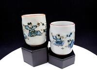 """JAPANESE ART POTTERY HAND PAINTED 2 PC CHILDREN PLAYING 4"""" THUMBPRINT TUMBLERS"""