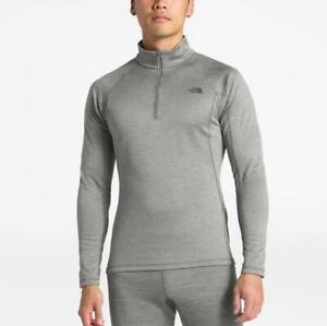 The North Face FLASHDRY Base Layer Top Zip Mock Neck Warm Weight Cold Gray