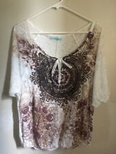 Maurice's Women's XL Short Sleeve Elastic Bottom Decorative Blouse