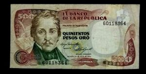 COLOMBIA 1984 (500) PESOS  ORO USED BANKNOTE