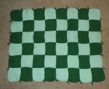 HAND KNITTED BLANKET - TECHNO GREEN AND MINT COLOR - CHECKERBOARD PATTERN