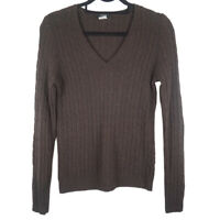 J. Crew Womens Brown V Neck Wool Cashmere Angora Blend Pullover Sweater Small