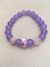 """7.5"""" Lavender Jade & Rose Quartz Stretch Bracelet Sterling Silver Heart Charm"""