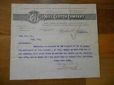 Antique 1903 Hill Clutch Co Transmission Cleveland Ohio Paper Letter to Kiel Mfg