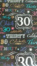 2 sheets wrapping paper gift present wrap birthday 30 thirty design