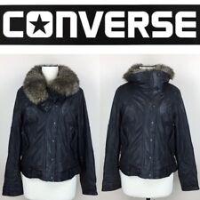 CONVERSE Soft Black Lamb Leather Moto Bomber Jacket Faux Fur Lined Collar Size L