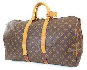 Authentic LOUIS VUITTON Keepall Bandouliere 45 Monogram Canvas Duffel Bag #39181