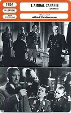 Movie Card. Fiche Cinéma. L'amiral Canaris (Allemagne) Alfred Weidenmann 1954