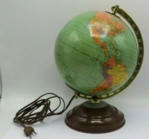 """Vintage 50's Replogle Glass 8"""" Legend Light Up Library Lamp Globe - Made in USA"""