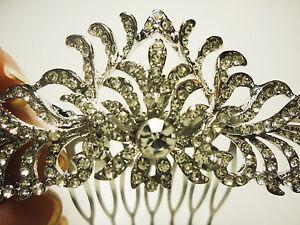 *NEW* Bridal Silver Rhinestone crown design 4 '' Hair Comb
