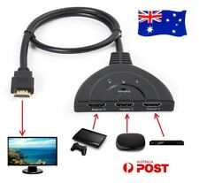 3 Way HDMI Switcher Splitter Cable 3 IN 1 OUT HD 1080P 3D For HDTV XBOX PS3 AU