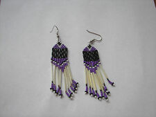 "Porcupine quill  Earrings  Purple  black and white  NEW Native American 3"" long"