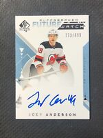 2018-19 SP AUTHENTIC JOEY ANDERSON ROOKIE FUTURE WATCH AUTO #ed 773/999