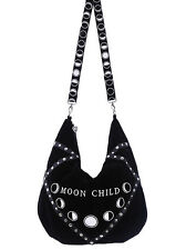 MOON CHILD Sack Bag,  Black velvet hobo bag, moon phases embroidery