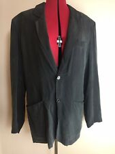 Vintage Henry Moreh 100% Silk Dark Grey Blazer Jacket - Shoulder Pads - Size 94