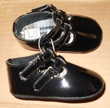Cute Carter's Baby Girl Faux Black Leather Double Staps Shoes Sz 1 MSRP $34-$48