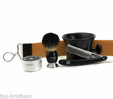 VINTAGE COMPLETE SHAVING SET with Badger Brush, Straight Razor & Leather Strop