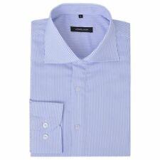 vidaXL Zakelijk Overhemd Mannen Streep Maat L Wit Lichtblauw Shirt Hemd Blouse